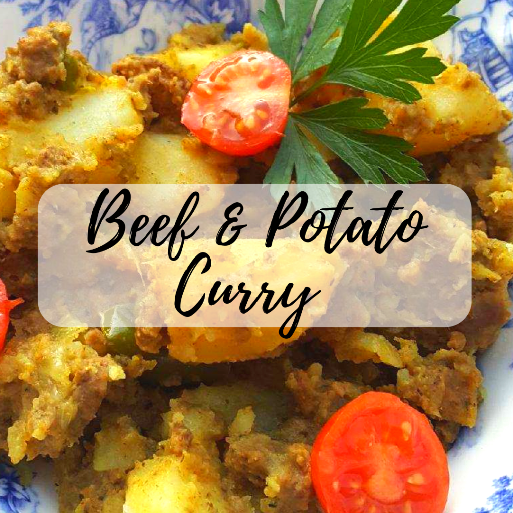 potato curry with beef and tomatoes