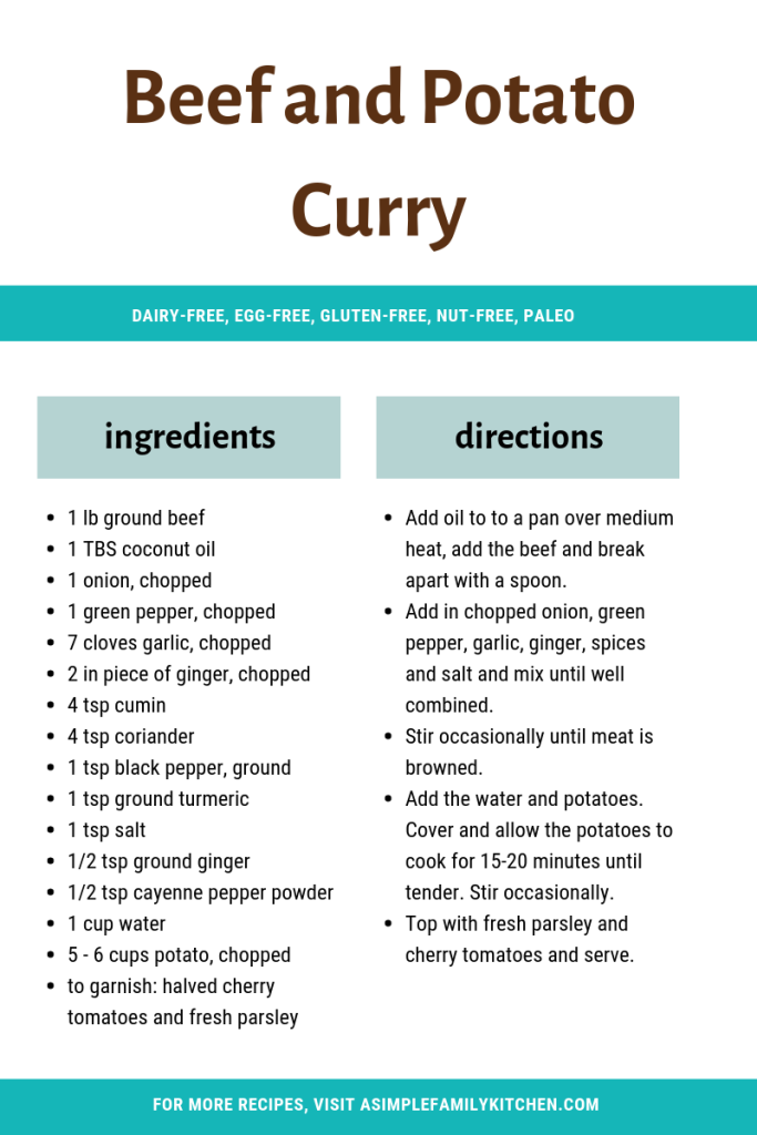 recipe for beef and potato curry