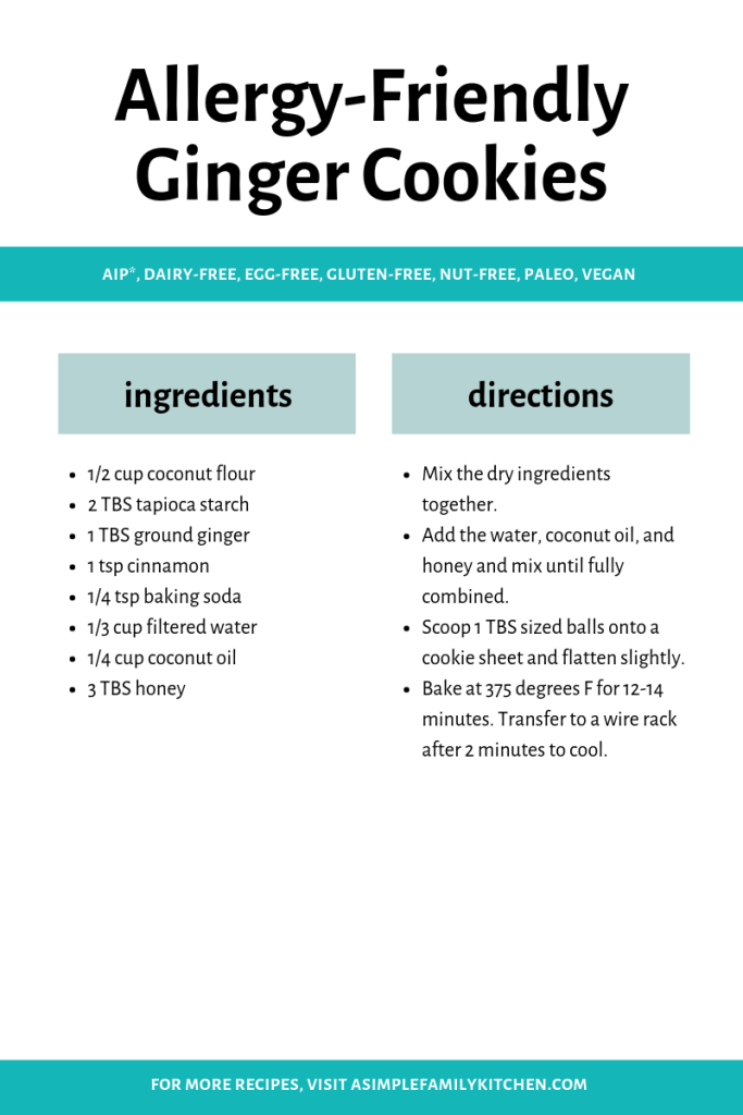 allergy-friendly ginger cookie recipe