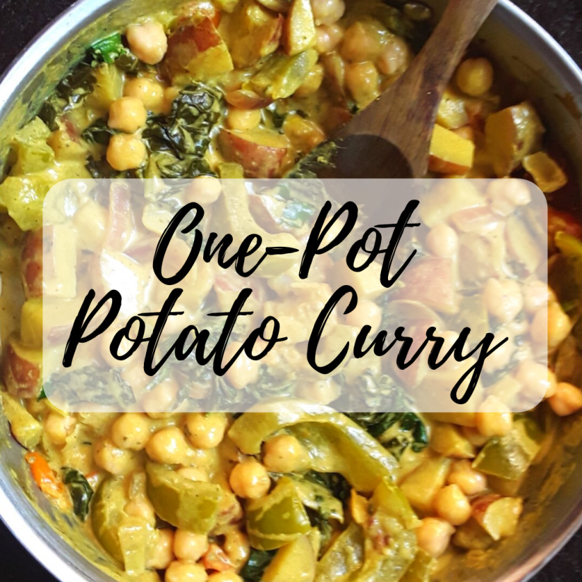 potato curry with kale, potatoes, peppers, and garbanzo beans