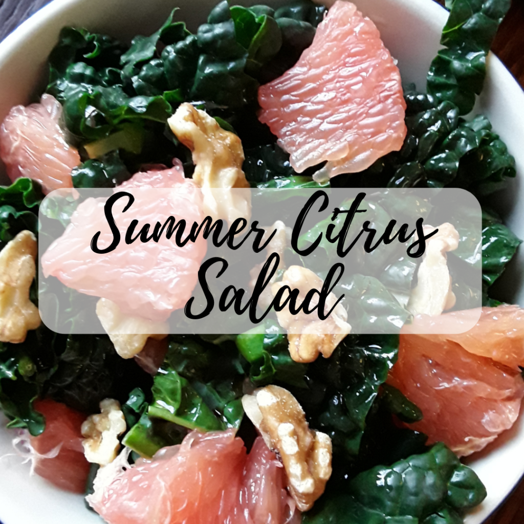 salad with kale, walnuts, grapefruit, balsamic vinegar and oil in a bowl