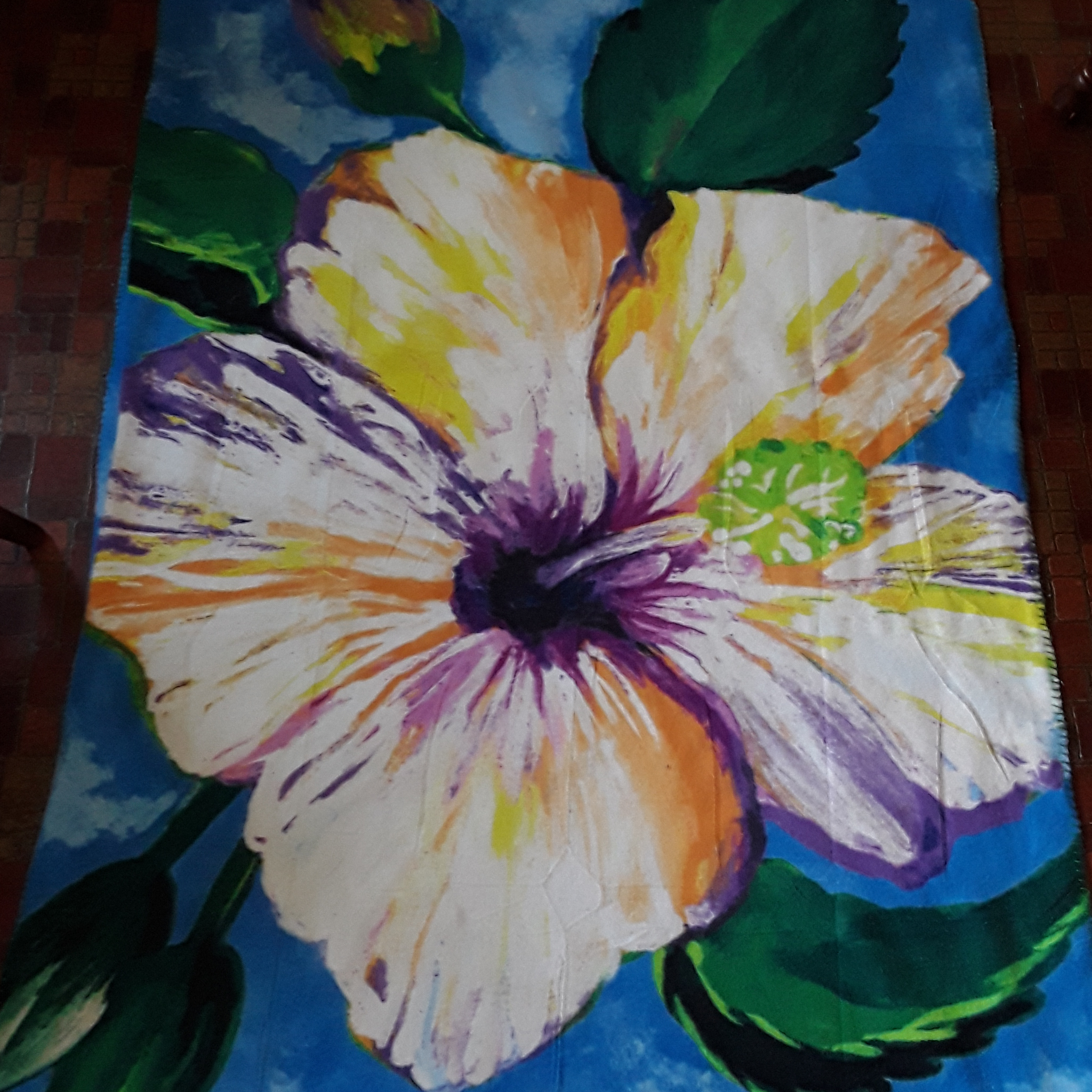 hibiscus print fleece blanket